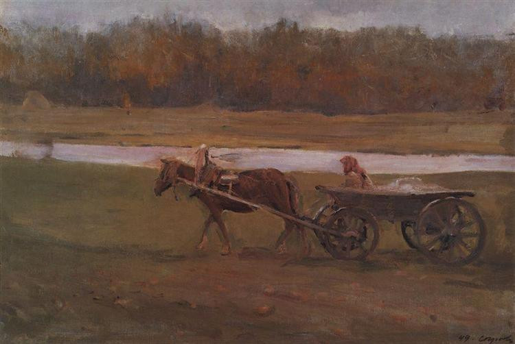 peasant woman in a cart 1896 XX the russian museum st petersburg russia